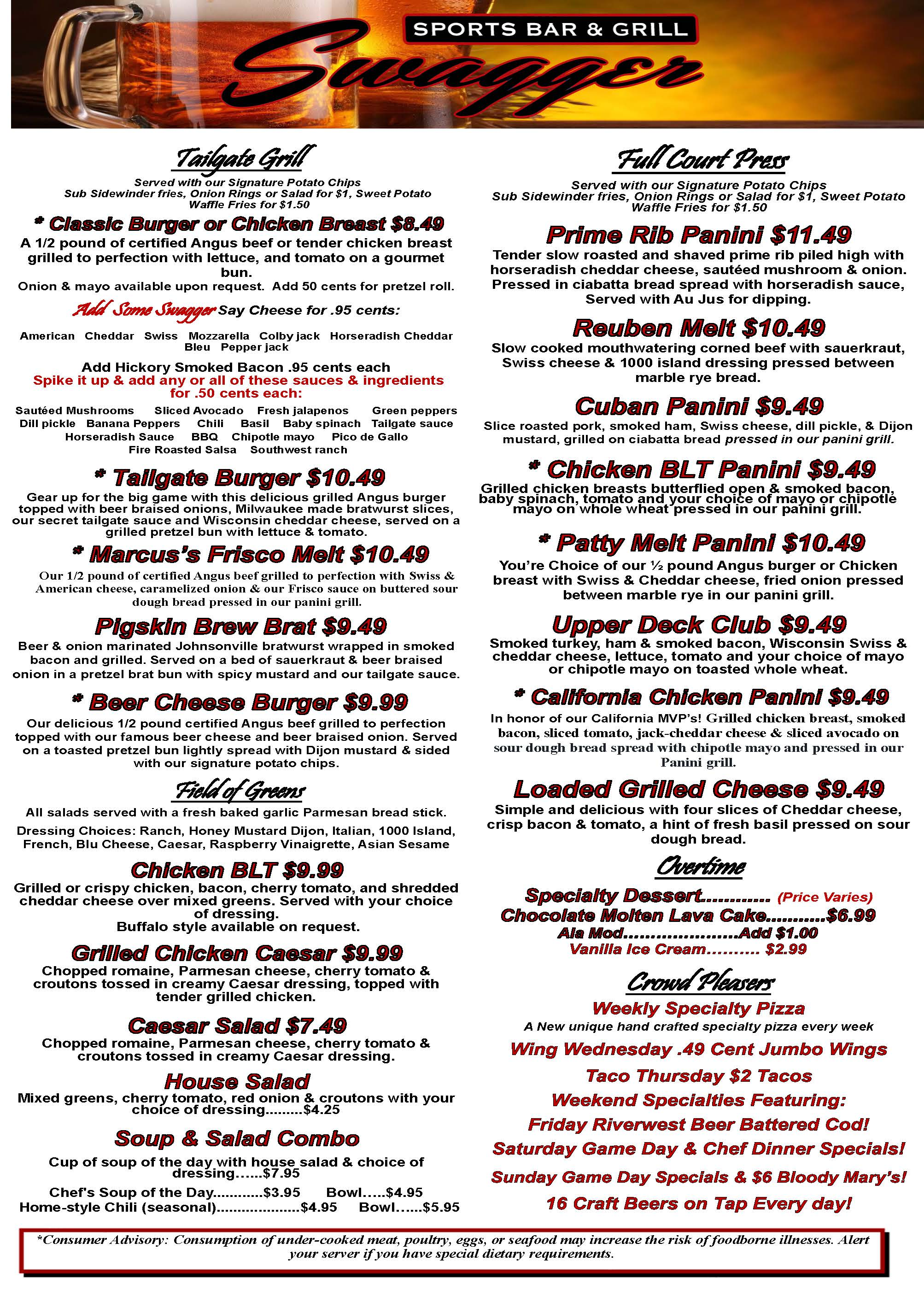 Root River Center Swagger Sports Bar Food Menu January 2016 Page 2