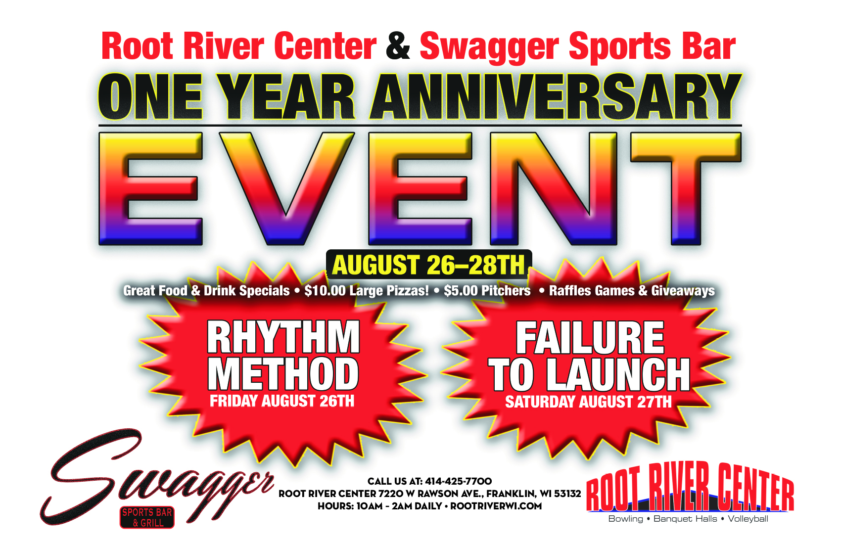 Root River Center and Swagger Sports Bar and Grill 1 Year Anniversary Event