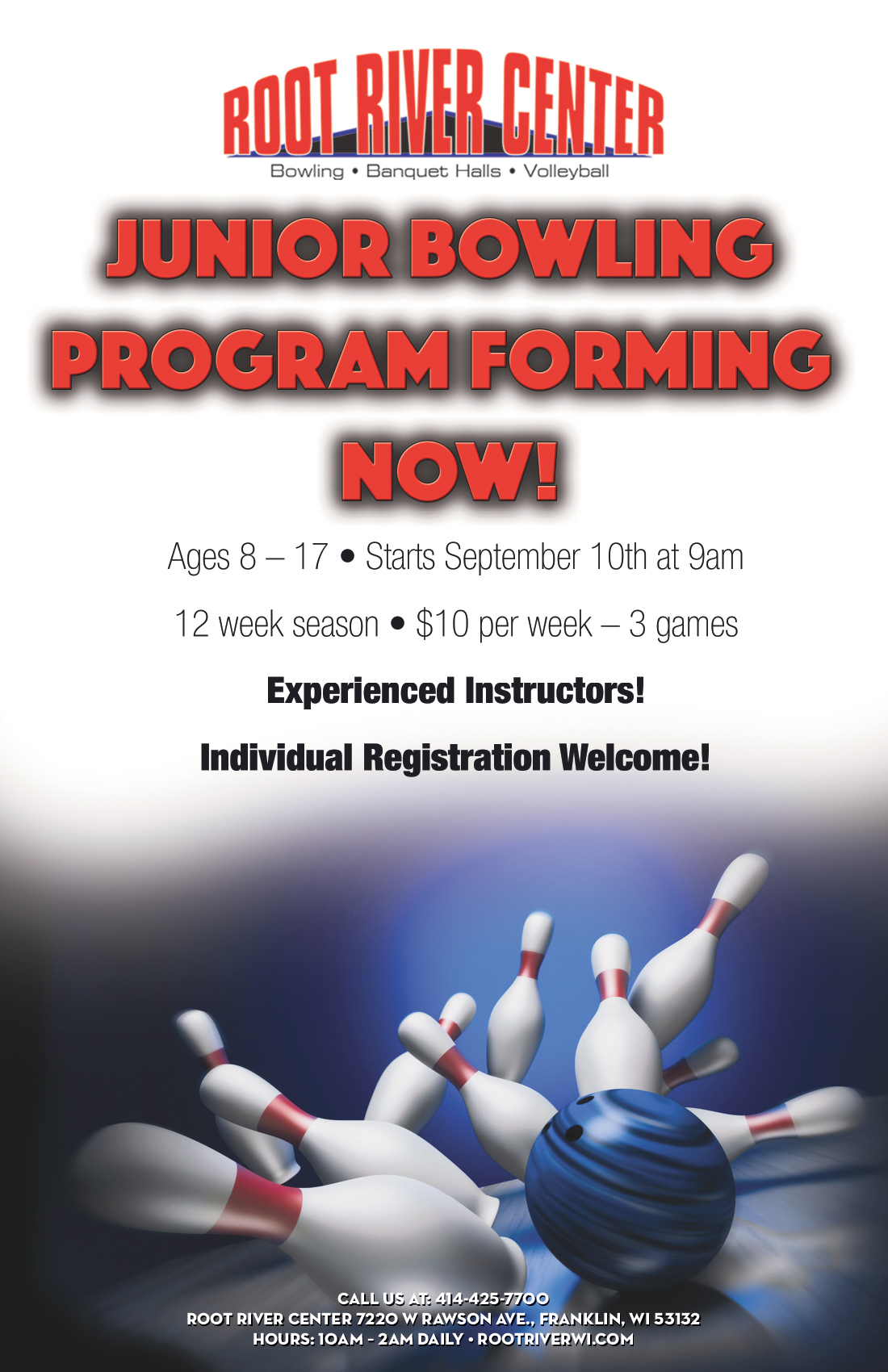 Junior Bowling Program Flyer