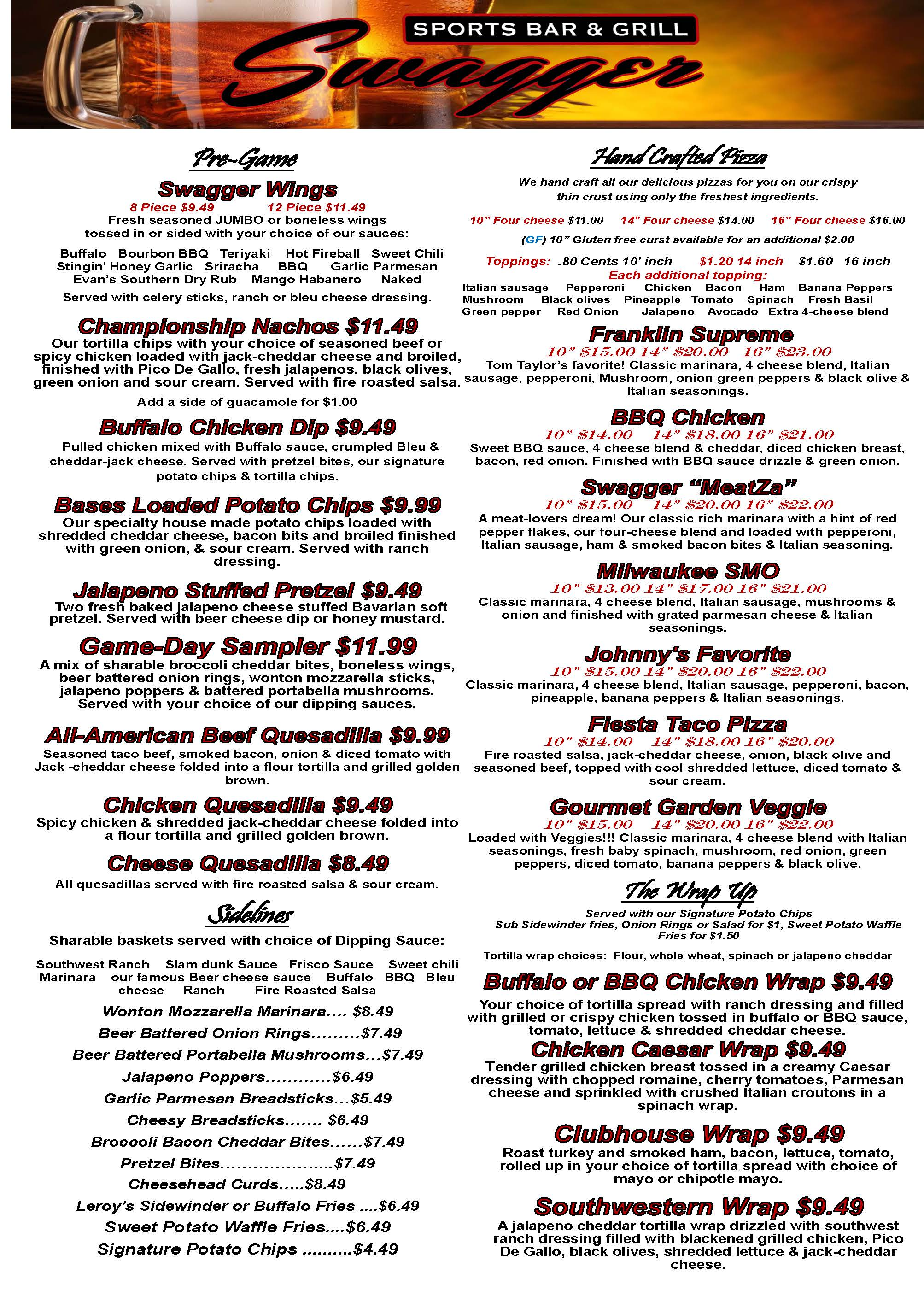 Root River Center Swagger Sports Bar Food Menu February 2015 Page 1