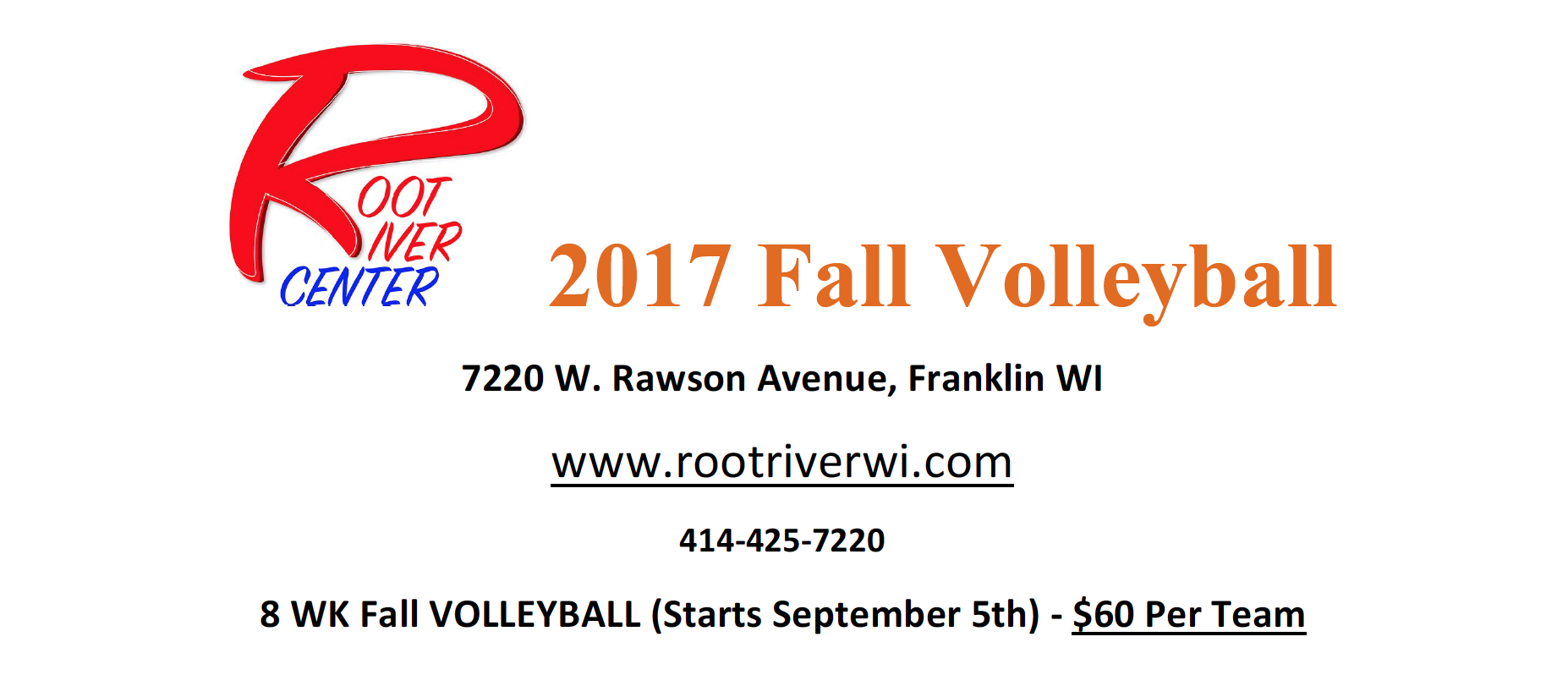 2017 Fall Volleyball Signup Root River Center