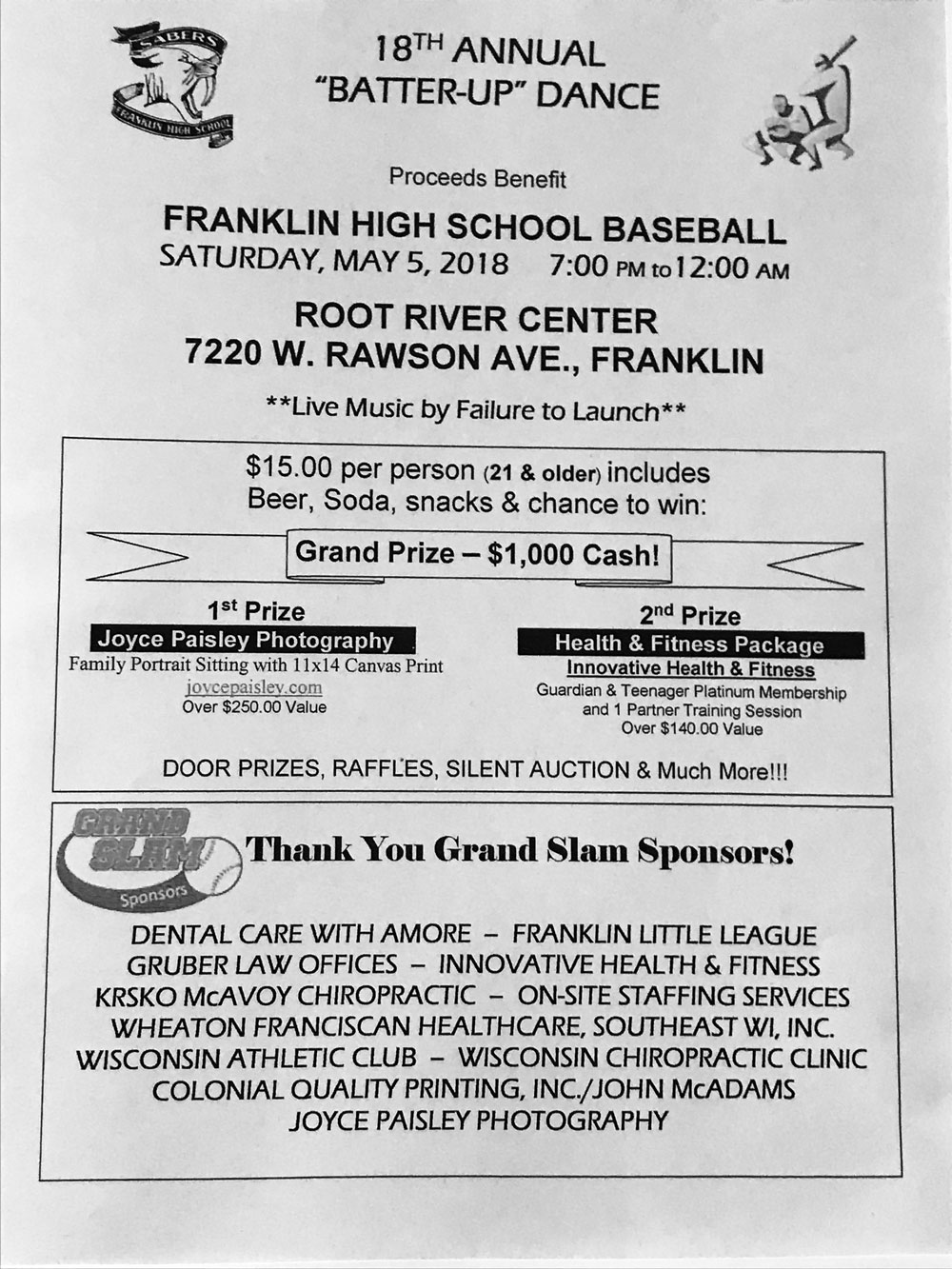 Franklin High School Batter-Up Dance Fundraiser