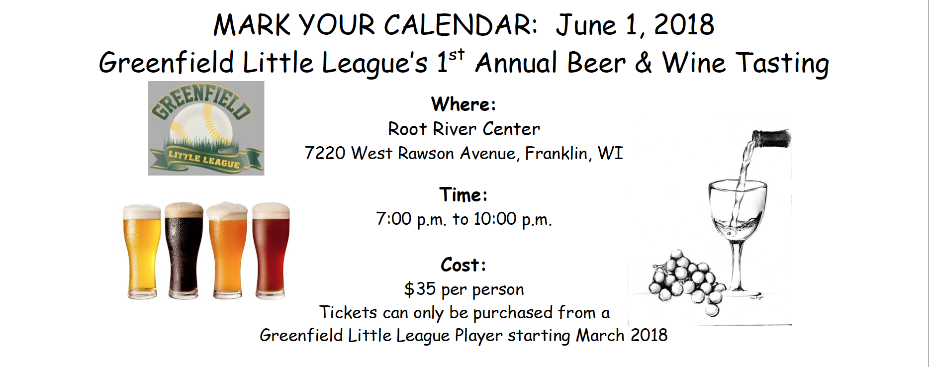 Beer and wine tasting Greenfield Little League